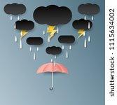 umbrella rain cloud and... | Shutterstock .eps vector #1115634002