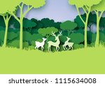 deers wildlife family and... | Shutterstock .eps vector #1115634008
