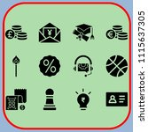 simple 12 icon set of business... | Shutterstock .eps vector #1115637305