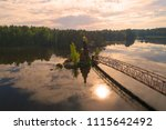 the vuoksa river and the church ... | Shutterstock . vector #1115642492