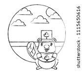 beaver cartoon with canadian...   Shutterstock .eps vector #1115650616