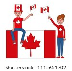 canadian couple holding flags... | Shutterstock .eps vector #1115651702