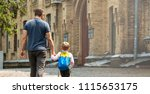 back to school. happy father... | Shutterstock . vector #1115653175
