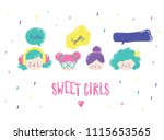 cute different little girl face'... | Shutterstock .eps vector #1115653565