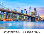 brooklyn bridge and the lower... | Shutterstock . vector #1115657072