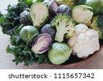 cruciferous vegetables ... | Shutterstock . vector #1115657342