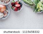 variety of prebiotic foods  raw ... | Shutterstock . vector #1115658332