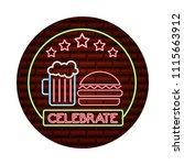neon glowing celebrate burger... | Shutterstock .eps vector #1115663912