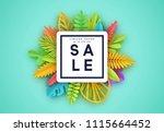 tropic summer background  palm... | Shutterstock .eps vector #1115664452