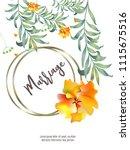botanic card with monstera leaf ... | Shutterstock .eps vector #1115675516
