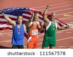 relay team with american flag... | Shutterstock . vector #111567578