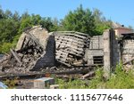interior of burned down wooden... | Shutterstock . vector #1115677646