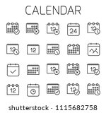 Stock vector calendar related vector icon set well crafted sign in thin line style with editable stroke vector 1115682758