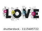 love word with handmade font... | Shutterstock .eps vector #1115685722