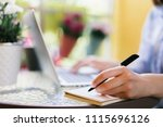 cropped shot of student girl on ... | Shutterstock . vector #1115696126