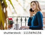 young smiling business woman... | Shutterstock . vector #1115696156