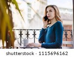 young smiling business woman... | Shutterstock . vector #1115696162