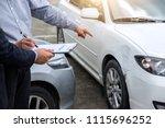 insurance agent examine damaged ... | Shutterstock . vector #1115696252