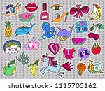 set of summer  patches  icons ... | Shutterstock .eps vector #1115705162