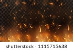 red fire sparks vector flying... | Shutterstock .eps vector #1115715638