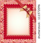 pink frame with bow and beads... | Shutterstock .eps vector #111572096