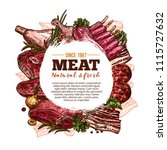 fresh meat poster with beef ... | Shutterstock .eps vector #1115727632