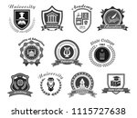 University, college and academy vector icons. Badge shields for high school education graduates in science, music and law. Ribbons of bachelor hat, laurel wreath, book pen and owl