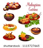 malaysian cuisine icon of... | Shutterstock .eps vector #1115727665
