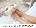 young woman with sexy legs in...   Shutterstock . vector #1115736365