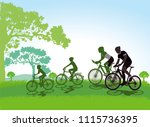 cycling with the family | Shutterstock .eps vector #1115736395
