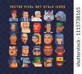 pixel art different avatar...   Shutterstock .eps vector #1115738165