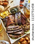texas style bbq tray with... | Shutterstock . vector #1115751458