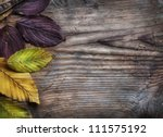 Autumn leaves on grunge wooden background - stock photo
