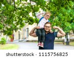 father and kid have fun   child ... | Shutterstock . vector #1115756825