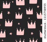 repeating crowns and stars... | Shutterstock .eps vector #1115758955