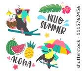hello summer. funny toucan in... | Shutterstock .eps vector #1115762456