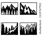 set of hand drawn hiking and... | Shutterstock .eps vector #1115767952