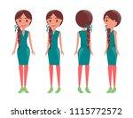 braided pretty women in elegant ... | Shutterstock .eps vector #1115772572