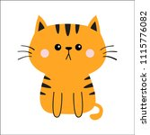 orange red cat sad head face... | Shutterstock .eps vector #1115776082
