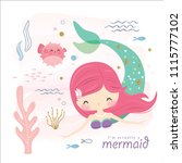 cute mermaid and sea life... | Shutterstock .eps vector #1115777102