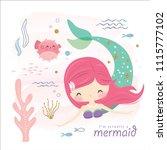 cute mermaid and sea life... | Shutterstock .eps vector #1115777102