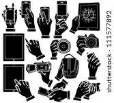 vector hands  smart phone and... | Shutterstock .eps vector #111577892
