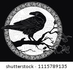 black crow sitting on a branch... | Shutterstock .eps vector #1115789135