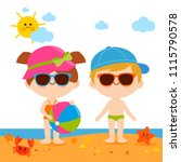 children at the beach with hats ... | Shutterstock .eps vector #1115790578
