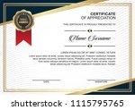 creative certificate design... | Shutterstock .eps vector #1115795765