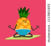 cute pineapple doing yoga... | Shutterstock .eps vector #1115801855