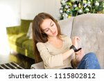 girlfriend get smartwatch from... | Shutterstock . vector #1115802812