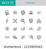 protection icons. set of twenty ... | Shutterstock .eps vector #1115804462
