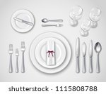 table setting realistic top... | Shutterstock .eps vector #1115808788