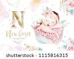 Cute Newborn Watercolor Baby....
